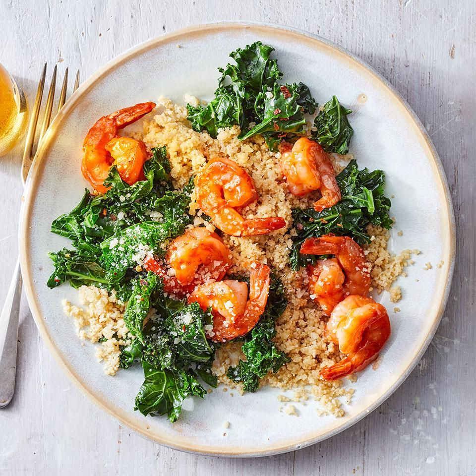 <p>In the U.S., dry whole-wheat couscous has been partially cooked, making it a quick-cooking (5 minutes!) whole-grain weeknight dinner champ. And when you buy peeled shrimp, plus a bag of prechopped kale and bottled barbecue sauce, the savings in prep time helps to get this healthy dinner done in a jiff.</p>