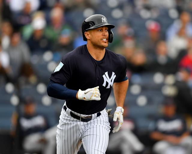 "<a class=""link rapid-noclick-resp"" href=""/mlb/players/8634/"" data-ylk=""slk:Giancarlo Stanton"">Giancarlo Stanton</a> hits home run completely out of George M. Steinbrenner Field. (Photo by Alika Jenner/Getty Images)"