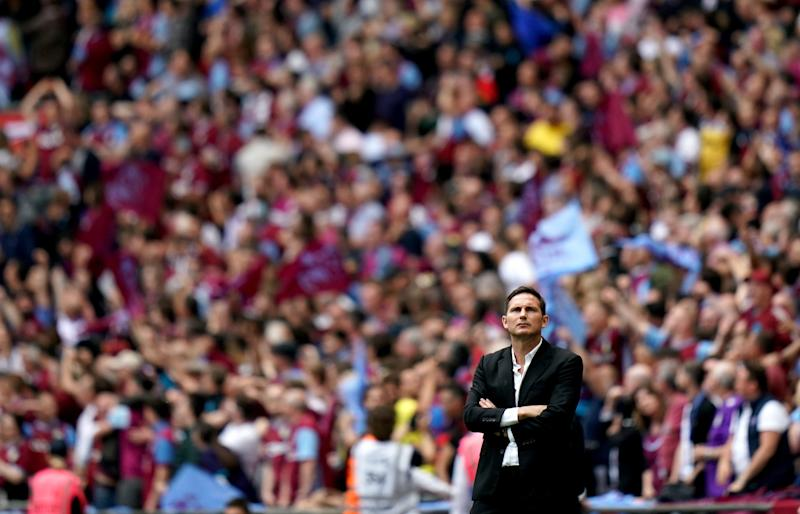 Derby County manager Frank Lampard during the Sky Bet Championship Play-off final at Wembley Stadium, London. (Photo by John Walton/PA Images via Getty Images)
