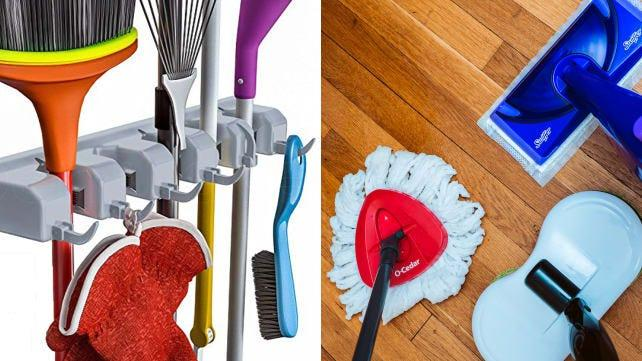 This organizer can make brooms, mops and other cleaning tools easier to find.