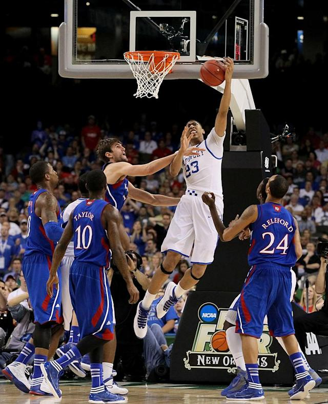 Anthony Davis #23 of the Kentucky Wildcats goes up for a shot against Jeff Withey #5 of the Kansas Jayhawks in the first half in the National Championship Game of the 2012 NCAA Division I Men's Basketball Tournament at the Mercedes-Benz Superdome on April 2, 2012 in New Orleans, Louisiana. (Photo by Jeff Gross/Getty Images)