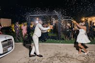 Spraying Champagne to celebrate at the end of the night.