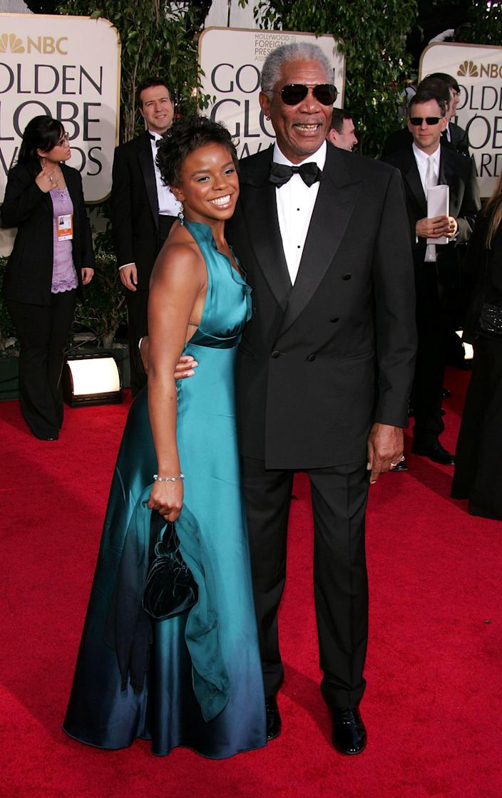 Morgan Freeman and step granddaughter E'Dena Hines arrive at the 62nd Annual Golden Globe Awards January 16, 2005 in Beverly Hills, California.