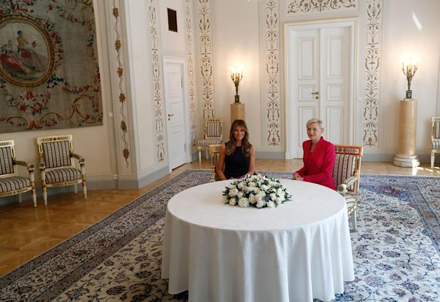 <p>First Lady Melania Trump, left, smiles during a meeting with Poland's First Lady Agata Kornhauser-Dudain Warsaw, Poland, Thursday, July 6, 2017.(Photo: Petr David Josek/AP) </p>