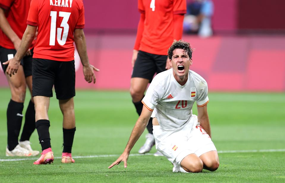 SAPPORO, JAPAN - JULY 22: Juan Miranda #20 of Team Spain reacts during the Men's First Round Group C match between Egypt and Spain during the Tokyo 2020 Olympic Games at Sapporo Dome on July 22, 2021 in Sapporo, Hokkaido, Japan. (Photo by Masashi Hara/Getty Images)
