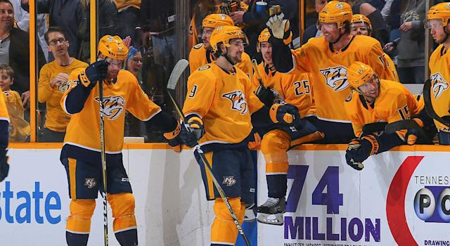 "The <a class=""link rapid-noclick-resp"" href=""/nhl/teams/nas"" data-ylk=""slk:Nashville Predators"">Nashville Predators</a> are the clear-cut Stanley Cup favourites. (Frederick Breedon/Getty Images)"