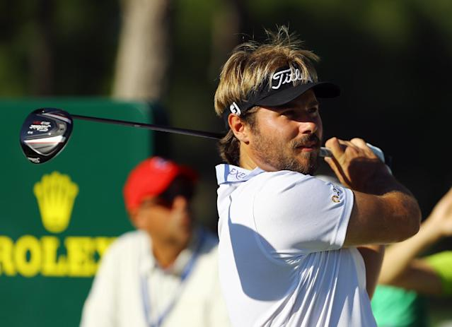 Victor Dubuisson of France tees off from the 12th hole during the third round of the Turkish Open golf tournament at the Montgomerie Maxx Royal Course in Antalya, Turkey, Saturday, Nov. 9, 2013. (AP Photo/Kaan Soyturk)
