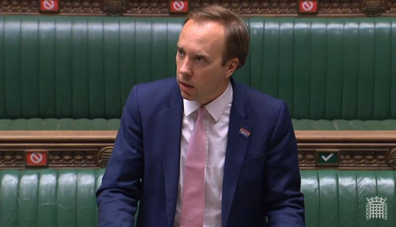 Health Secretary Matt Hancock updating MPs in the House of Commons, London, on the latest situation on the Coronavirus pandemic.