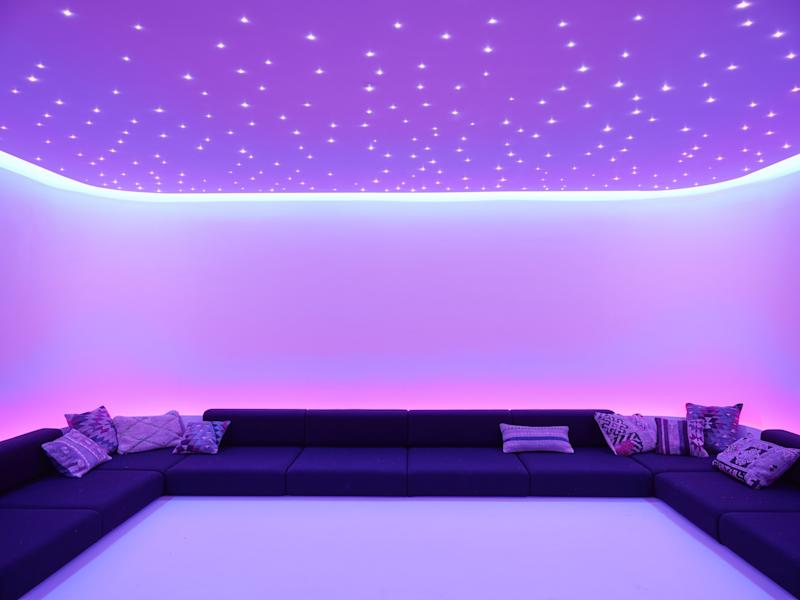 The wellness wing features a yoga room with city views, a massage and treatment room, changing rooms with showers, and a meditation room (pictured).