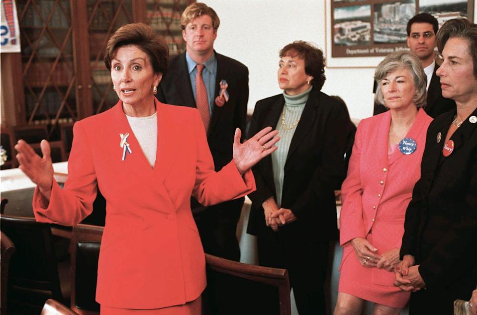<p>Pelosi speaking to reporters after being elected as the House Minority Whip.</p>