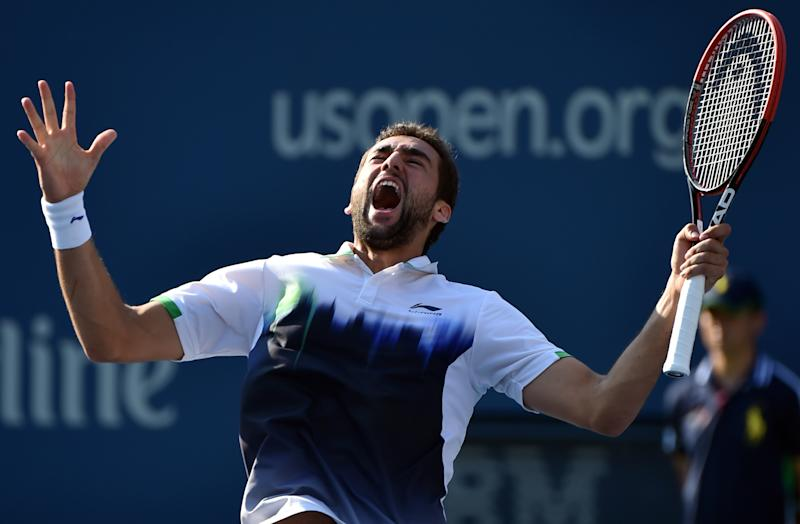 Marin Cilic of Croatia celebrates his win over Tomas Berdych of the Czech Republic during their 2014 US Open men's quarterfinal singles match on September 4, 2014, in New York (AFP Photo/Stan Honda)