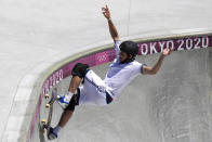 Cory Juneau of the United States competes in the men's park skateboarding prelims at the 2020 Summer Olympics, Thursday, Aug. 5, 2021, in Tokyo, Japan. (AP Photo/Ben Curtis)