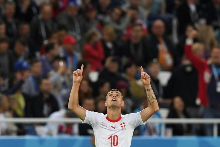Xhaka celebrates his equalising goal in Switzerland's 2-1 win over Serbia