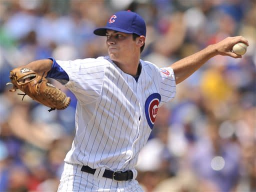 Chicago Cubs starter Brooks Raley delivers a pitch to the Colorado Rockies in the first inning during a baseball game in Chicago, Saturday, Aug. 25, 2012. (AP Photo/Paul Beaty)