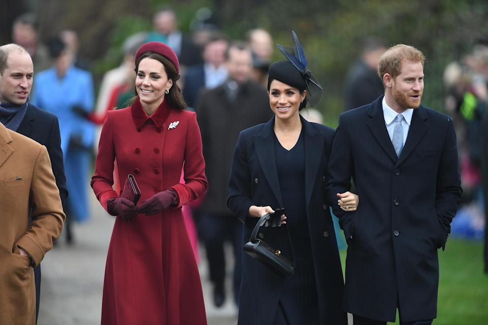 William, Kate, Meghan and Harry walk to church on Christmas Day [Photo: PA]