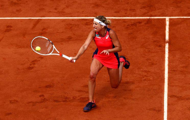 Timea Bacsinszky hits a shot in her quarterfinal match against Kristina Mladenovic on Tuesday. (Getty Images).