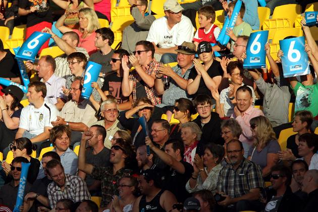 Fans show their support during the third Twenty20 International match between New Zealand and England at Westpac Stadium on February 15, 2013 in Wellington, New Zealand.  (Photo by Hagen Hopkins/Getty Images)