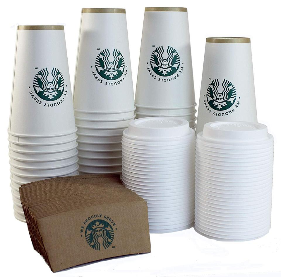 <p>The truest of fans will use these <span>Starbucks White Disposable Hot Paper Cups, Sleeves and Lids</span> ($28, set of 50) at home.</p>