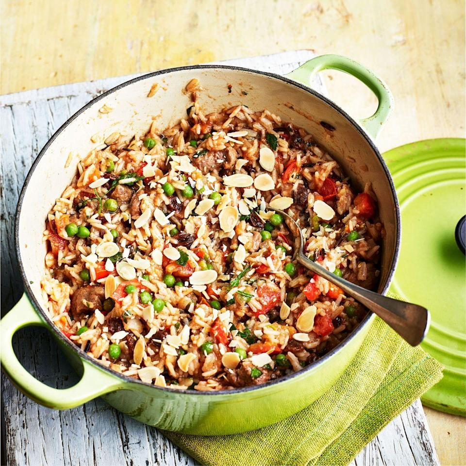 """<p>Leftover lamb from your Sunday roast will also work well here. Simply shred and add with peas and tomatoes. </p><p><strong>Recipe: <a href=""""https://www.goodhousekeeping.com/uk/food/recipes/a31663099/spiced-lamb-pilaf/"""" rel=""""nofollow noopener"""" target=""""_blank"""" data-ylk=""""slk:Spiced Lamb Pilaf"""" class=""""link rapid-noclick-resp"""">Spiced Lamb Pilaf </a></strong></p>"""