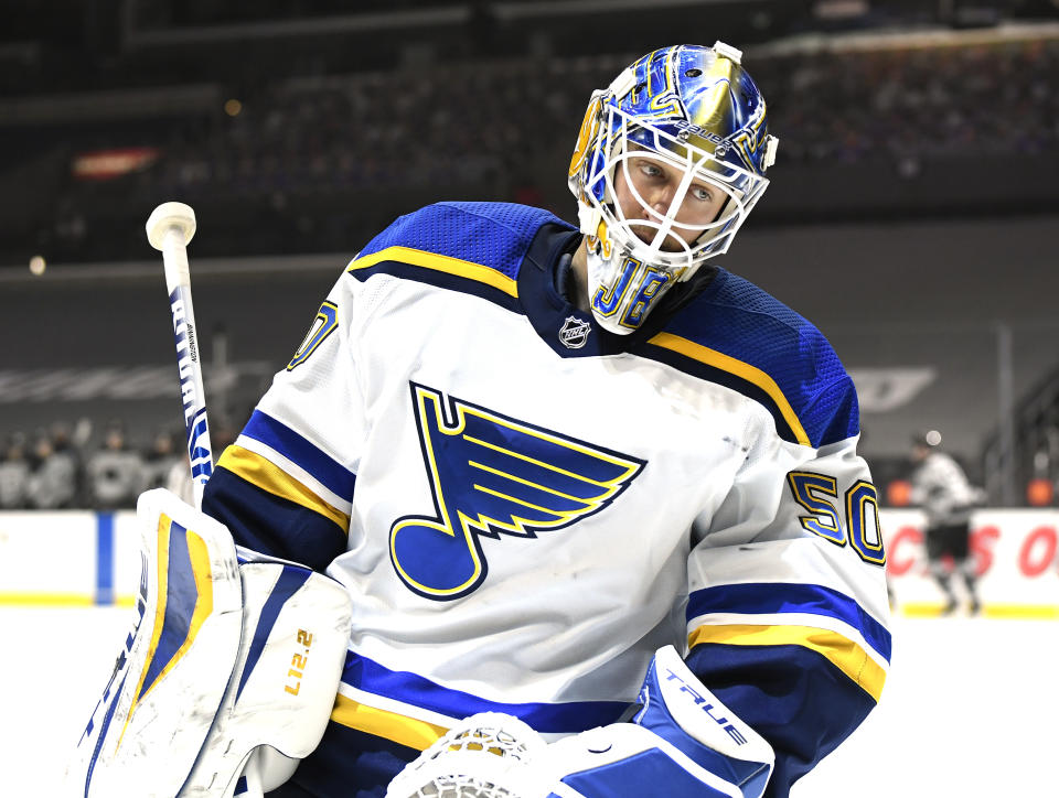 LOS ANGELES, CALIFORNIA - MARCH 06: Jordan Binnington #50 of the St. Louis Blues reacts after a goal during a 4-3 Los Angeles Kings overtime win at Staples Center on March 06, 2021 in Los Angeles, California. (Photo by Harry How/Getty Images)