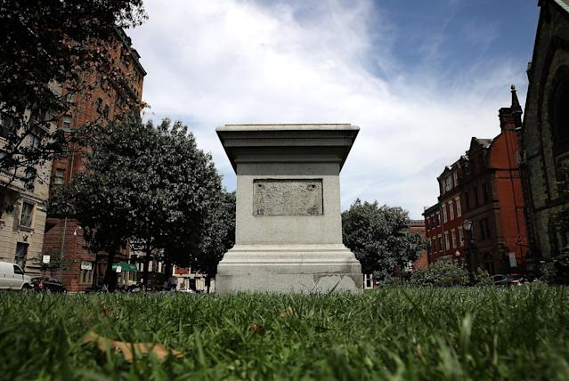 <p>The pedestal that was formerly the base for a statue of Roger B. Taney, former Chief Justice of the U.S. Supreme Court and majority author of the Dred Scott decision, stands empty after city workers removed the statue August 16, 2017 in Baltimore, Md. The City of Baltimore removed four statues celebrating confederate heroes from city parks overnight, following the weekend's violence in Charlottesville, Virginia. (Photo: Win McNamee/Getty Images) </p>