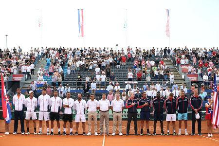 Tennis - Davis Cup - World Group Semi-Final - Croatia v United States - Sportski centar Visnjik, Zadar, Croatia - September 14, 2018 Teams and officials line up before the start of play REUTERS/Antonio Bronic