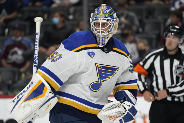 St. Louis Blues goaltender Jordan Binnington heads to the net during a timeout in the second period of Game 1 of an NHL hockey Stanley Cup first-round playoff series against the Colorado Avalanche, Monday, May 17, 2021, in Denver. (AP Photo/David Zalubowski)