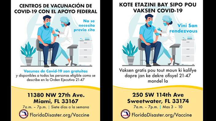 The state distributed these fliers to advertise federally supported vaccination sites in the greater Miami, Jacksonville, Orlando and Tampa areas.