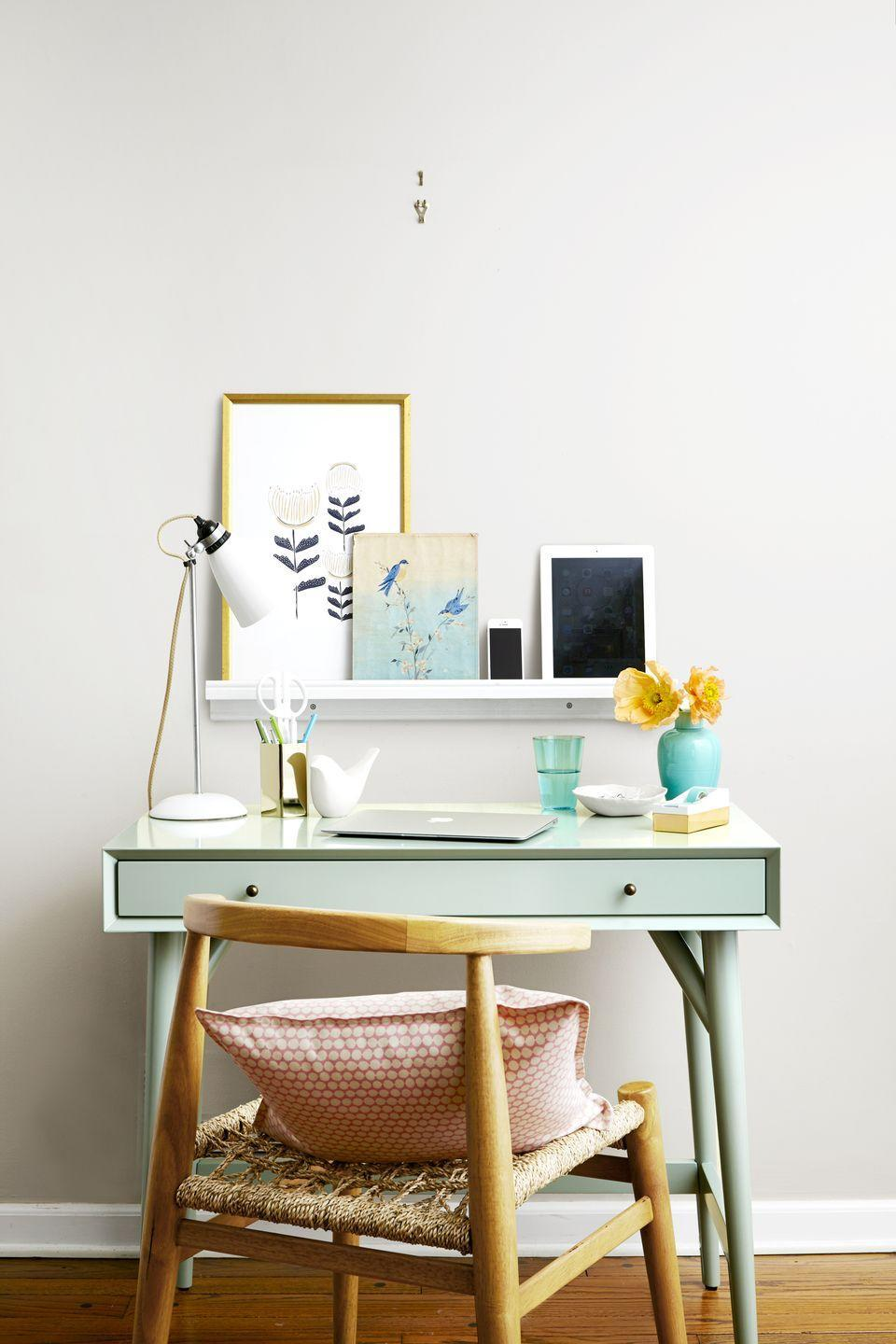 <p>Expand your work space with just a shelf and a few taps of a hammer, making room to store extra tech items or books. It's also a clever way to display artwork; you can easily swap in new frames or layer pieces that you love. </p>