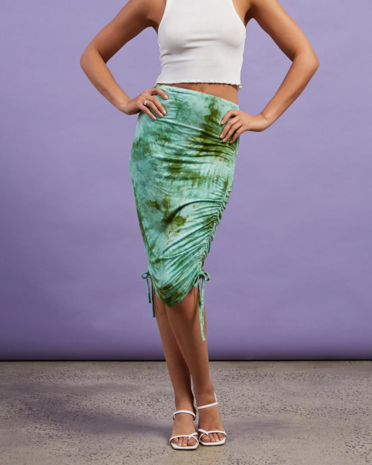 Dazie Tina Tie Dye Side Gather Skirt, on sale for $29.99 (RRP $49.99) from The Iconic. Photo: The Iconic.