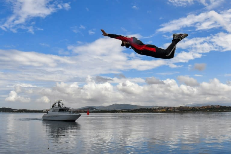 After having some trouble with the water during the rally, Sebastien Ogier celebrated victory by diving into the sea in Olbia