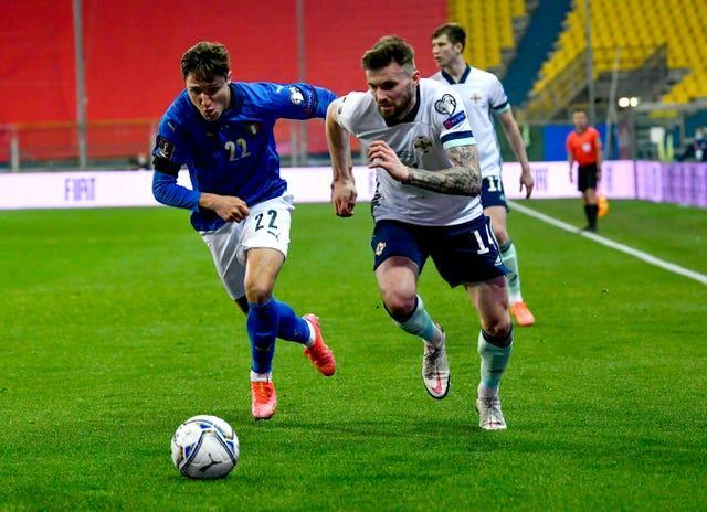 Stuart Dallas (right) in action against Italy