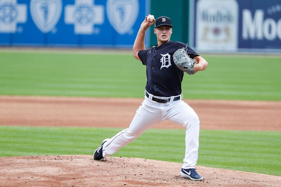 Detroit Tigers pitcher Matt Manning throws a pitch during summer camp at Comerica Park in Detroit, Tuesday, July 7, 2020.