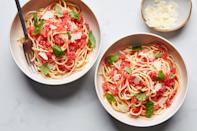"""When tomatoes are good, <a href=""""https://www.epicurious.com/recipes-menus/how-to-make-raw-tomato-sauce-in-summer-for-pasta-and-pizza-canal-house-article?mbid=synd_yahoo_rss"""" rel=""""nofollow noopener"""" target=""""_blank"""" data-ylk=""""slk:don't ruin them with cooking"""" class=""""link rapid-noclick-resp"""">don't ruin them with cooking</a>. Just make this raw sauce and toss it with whatever noodles are in your pantry. <a href=""""https://www.epicurious.com/recipes/food/views/raw-tomato-sauce?mbid=synd_yahoo_rss"""" rel=""""nofollow noopener"""" target=""""_blank"""" data-ylk=""""slk:See recipe."""" class=""""link rapid-noclick-resp"""">See recipe.</a>"""