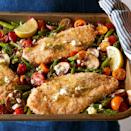 <p>This Greek-inspired chicken and vegetable sheet-pan meal is bursting with flavor. The chicken is coated in a mayonnaise and bread crumb mixture, roasted alongside asparagus, cremini mushrooms and grape tomatoes and then served with a lemon-feta vinaigrette.</p>