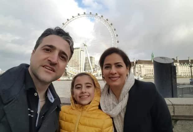 Hamed Esmaeilion, left, is  a spokesperson for an association representing victims' families in Canada. His wife Parisa Eghbalian and daughter Reera Esmaeilion, pictured here, died on Flight PS752.