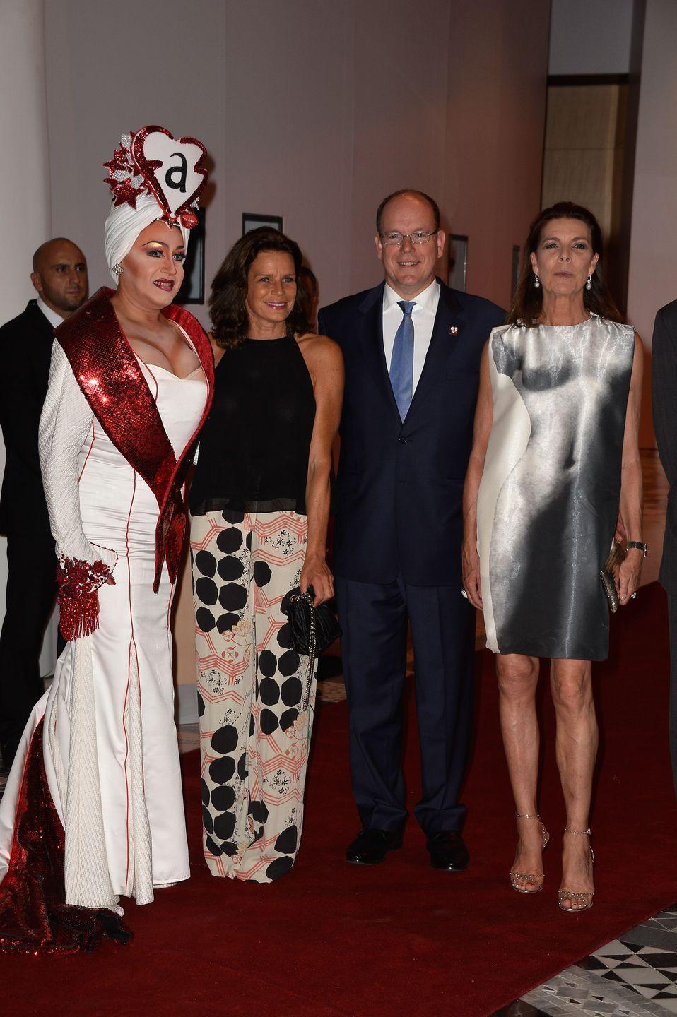 <p>Surely one of Princess Caroline's most daring style moments, for an AIDS charity gala in 2015.</p>