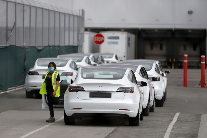 FILE PHOTO: Tesla's primary vehicle factory in Fremont, California, is shown in May 2020