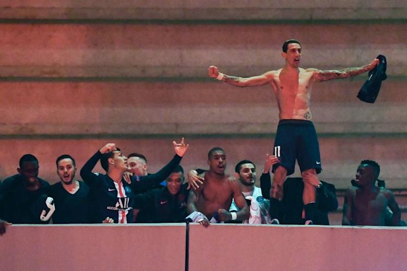 PSG players and fans celebrate