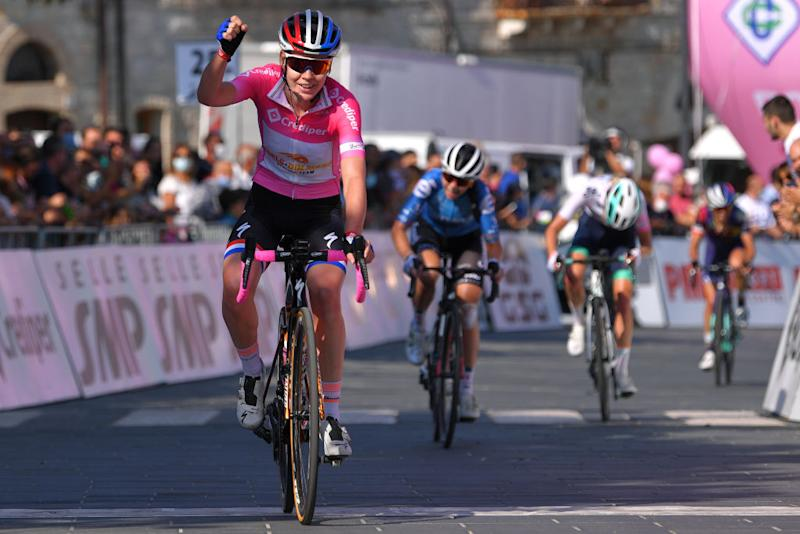 MOTTAMONTECORVINO ITALY SEPTEMBER 19 Arrival Anna Van Der Breggen of The Netherlands and Boels Dolmans Cycling Team Pink Leader Jersey Celebration during the 31st Giro dItalia Internazionale Femminile 2020 Stage 9 a 1099km stage from Motta Montecorvino to Motta Montecorvino 645m GiroRosaIccrea GiroRosa on September 19 2020 in Motta Montecorvino Italy Photo by Luc ClaessenGetty Images