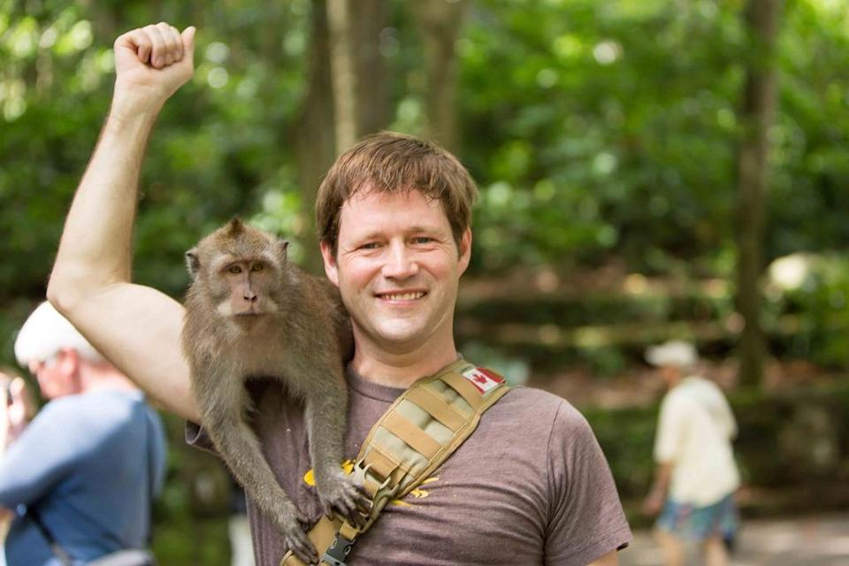 it is a common sight to see tamed monkeys sitting on people's shoulders to coax a few snacks.