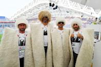 <p>Peru fans enjoy the atmosphere during the 2018 FIFA World Cup Russia group C match between Australia and Peru at Fisht Stadium on June 26, 2018 in Sochi, Russia. (Photo by Stuart Franklin – FIFA/FIFA via Getty Images) </p>