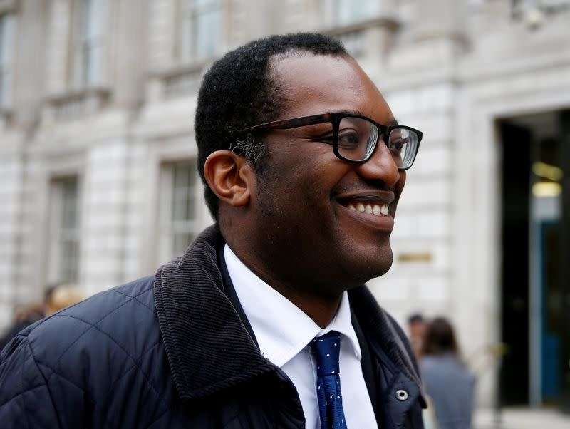 FILE PHOTO: Junior Brexit minister Kwasi Kwarteng is seen outside Downing Street in London