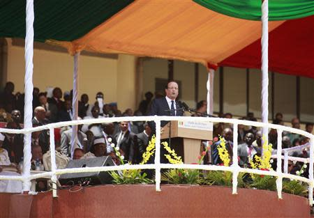 French President Hollande speaks at inauguration ceremony of Mali's new President Ibrahim Boubacar Keita at Stade du 26 Mars stadium in Bamako