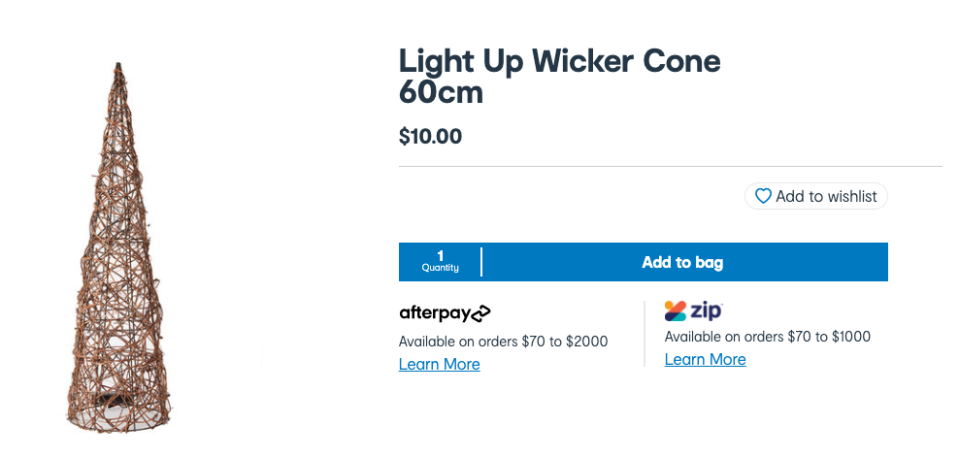 Kmart's $10 light up wicker cone formed the base of the tree DIY. Photo: Kmart.