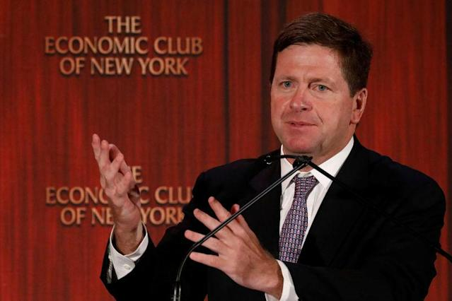 Jay Clayton, Chairman of the U.S. Securities and Exchange Commission (S.E.C.) speaks to the Economic Club of New York in New York City, U.S., July 12, 2017. REUTERS/Brendan McDermid