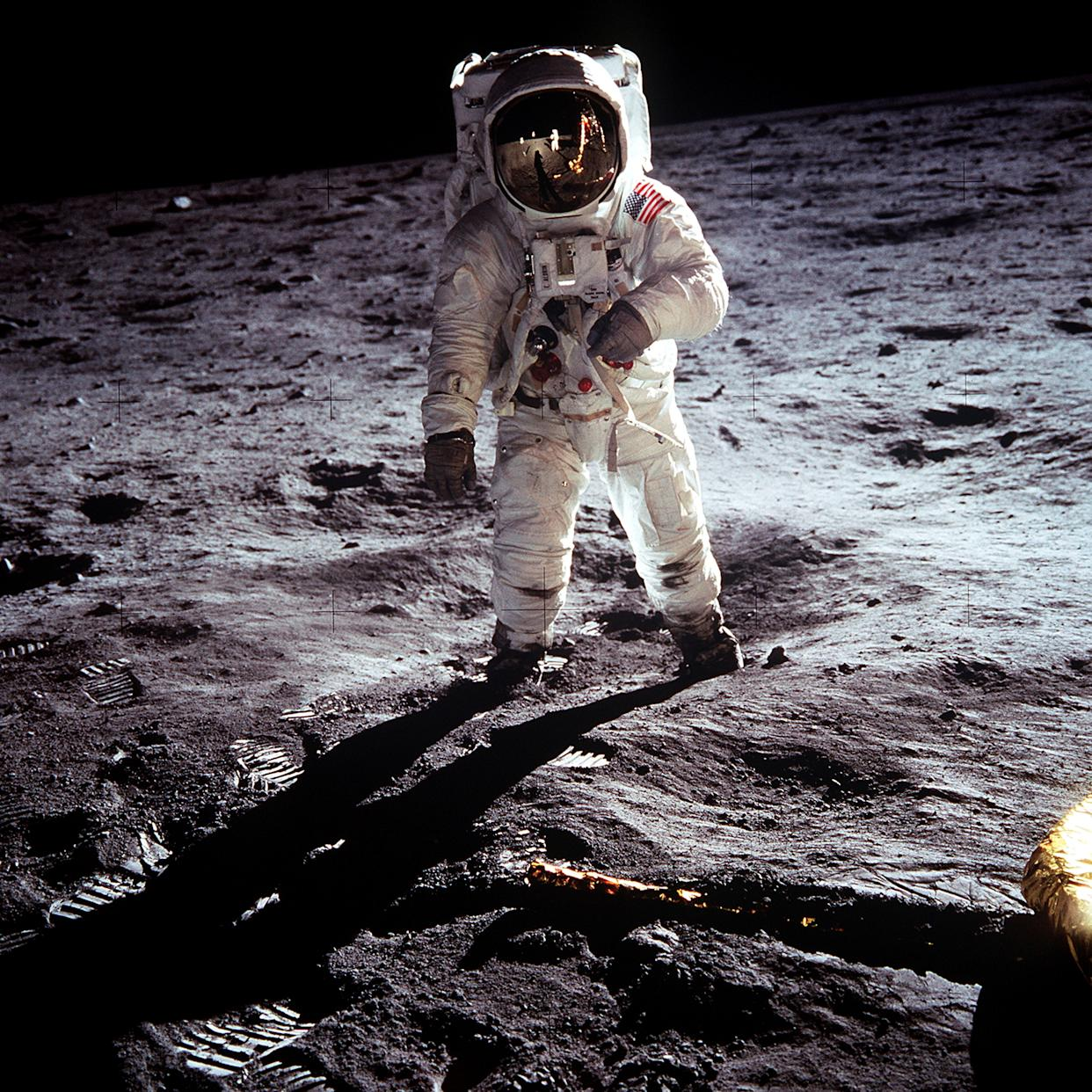 """Apollo 11 U.S. astronaut Buzz Aldrin standing on the Moon, next to the Lunar Module """"Eagle"""" (R), July 20, 1969.     REUTERS/Neil Armstrong-NASA/Handout    (UNITED STATES ANNIVERSARY SCI TECH IMAGES OF THE DAY) FOR EDITORIAL USE ONLY. NOT FOR SALE FOR MARKETING OR ADVERTISING CAMPAIGNS"""