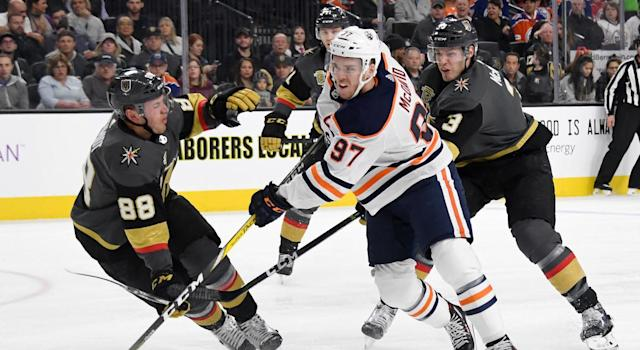 "Thousands of <a class=""link rapid-noclick-resp"" href=""/nhl/teams/edm/"" data-ylk=""slk:Edmonton Oilers"">Edmonton Oilers</a> fans sing 'Happy Birthday' to <a class=""link rapid-noclick-resp"" href=""/nhl/players/6743/"" data-ylk=""slk:Connor McDavid"">Connor McDavid</a> in Vegas at T-Mobile Arena. (Photo by Ethan Miller/Getty Images)"