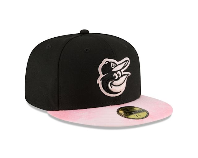 During games on Mother's Day Sunday, players will don newly designed caps with pink accents on the team logos and cap brims.
