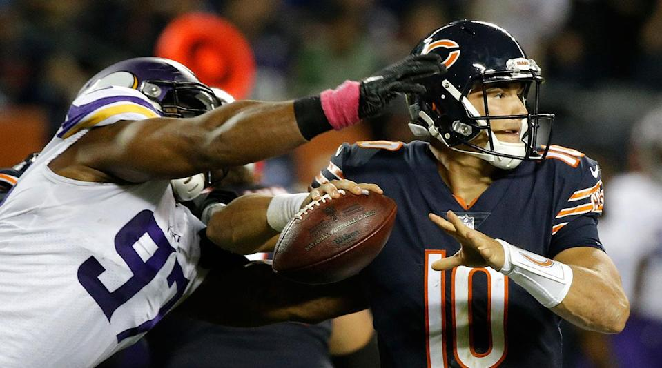 Rookie Mitchell Trubisky gave up a strip sack in the second quarter before throwing a costly interception late in his debut.